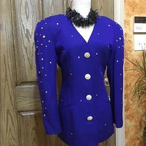 Studded embellished shoulder padded blazer